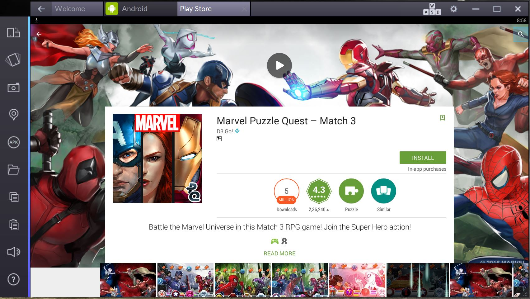 marvel puzzle quest pc bluestacks