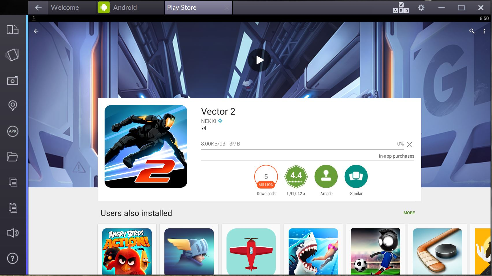 vector 2 for pc computer bluestacks