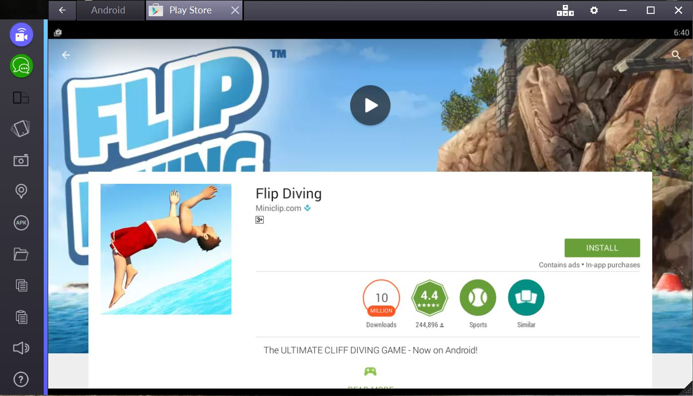 flip diving for pc bluestacks