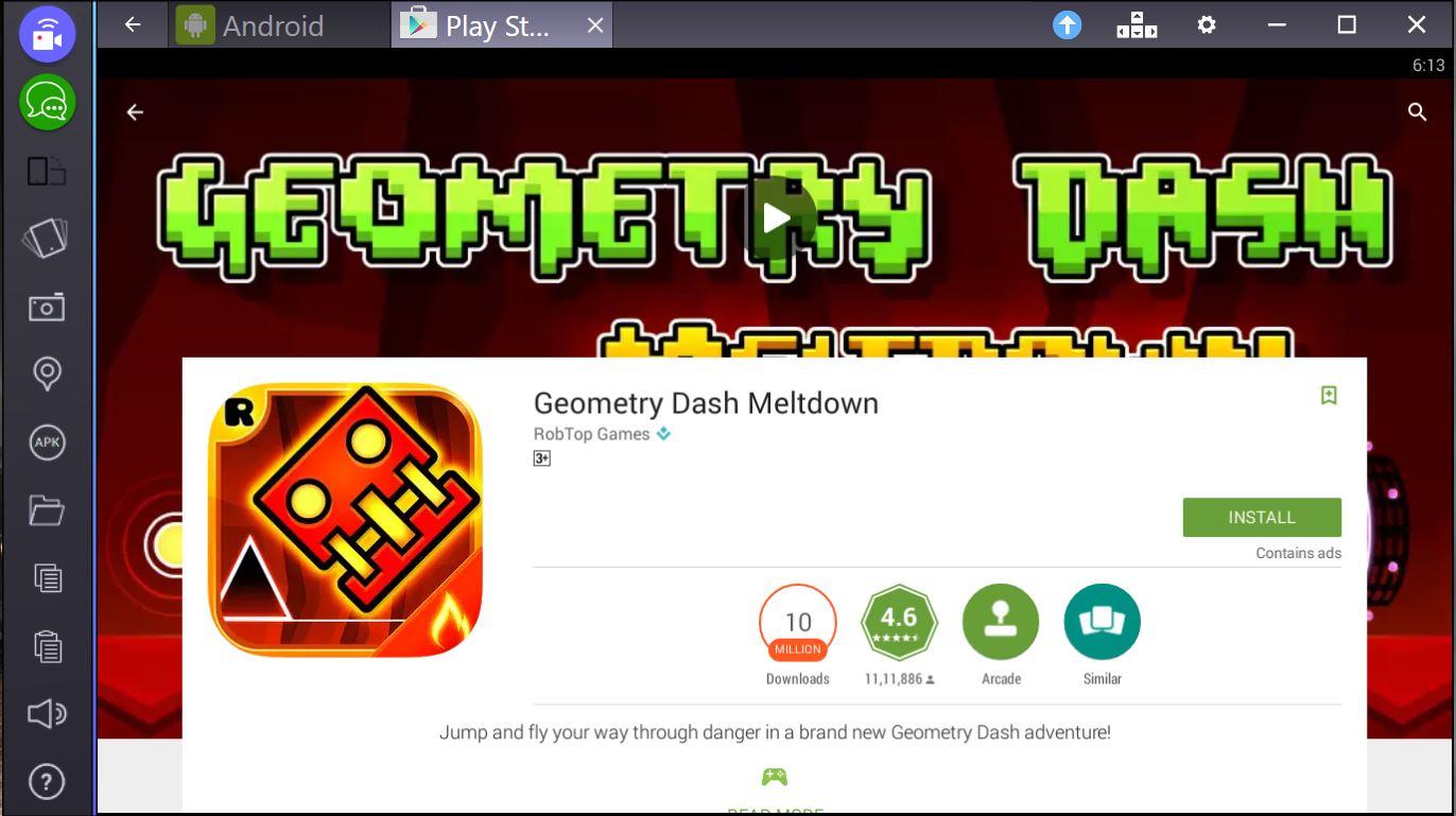 geometry dash meltdown for pc bluestacks