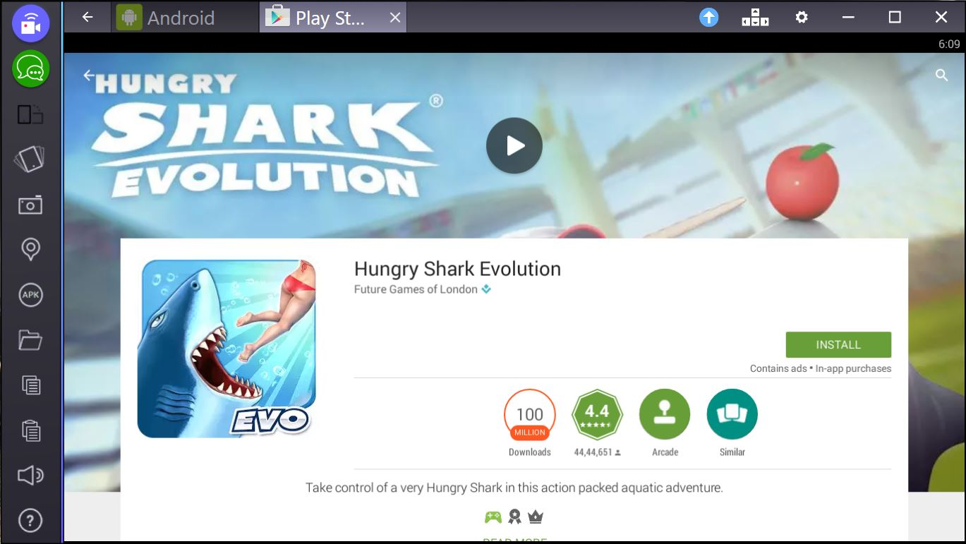 hungry shark evolution for pc bluestacks