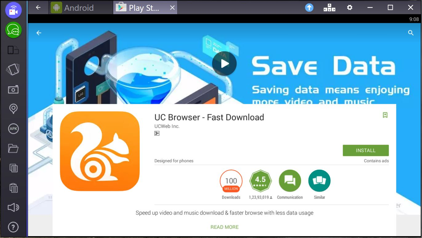 uc browser for pc bluestacks
